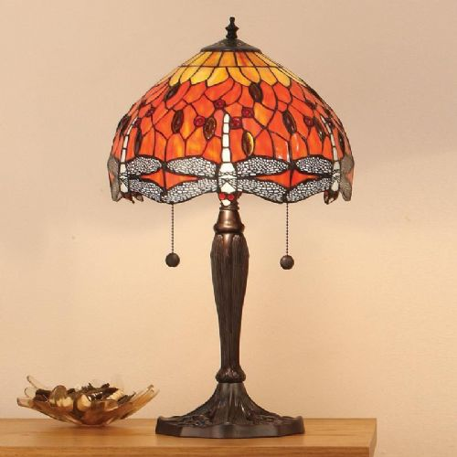 Dragonfly Flame Medium Table Lamp T077TM (Tiffany style)
